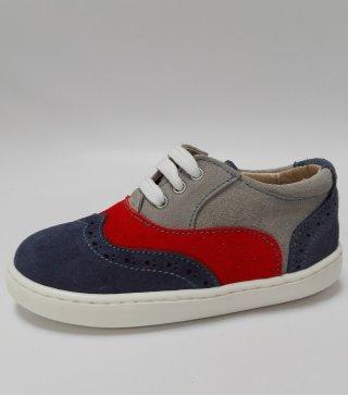 Zapato Casual de piel en tres colores azul, rojo y gris
