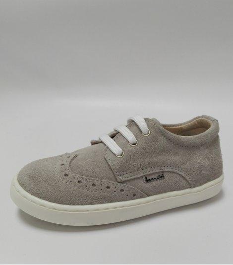 Zapato casual piel serraje gris con cordones