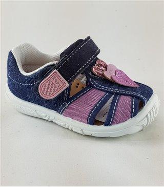 Sandalia de lona para niñas tejano-malva con velcro