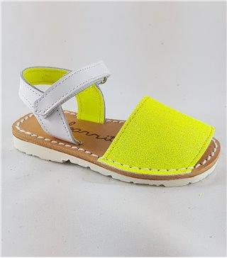 Menorquina glitter amarillo fluor