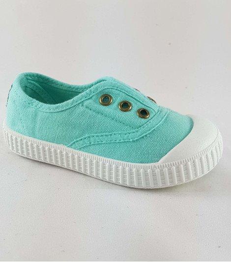 Zapatillas para niños de lona aqua sin cordones