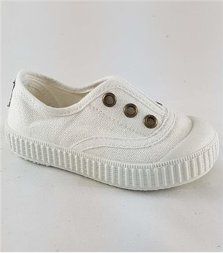 Zapatillas para niños de lona blanco sin cordones