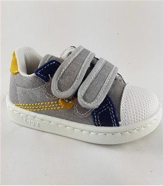 Zapatilla lona para niños color gris mostaza con cordones