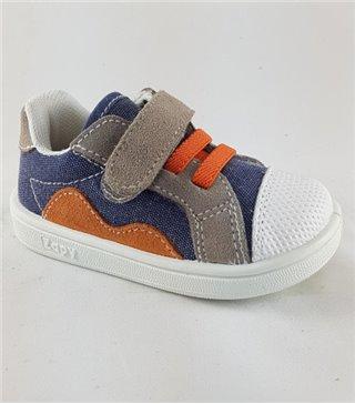 Zapatilla lona niños color jeans naranja con velcro