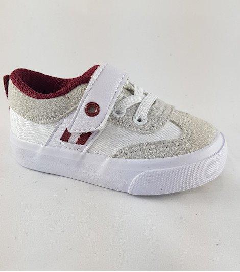 Zapatilla lona niños color white con velcro
