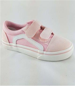 Zapatillas lonas para niñas color pink velcro