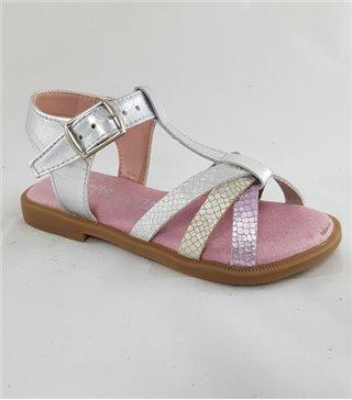 Sandalia para niñas modelo f100charro plata