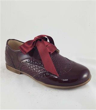 Zapato de piel niña-4211-burdeos