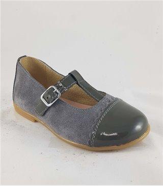 Zapato de piel niña-4486-gris