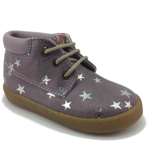 Bota Safari con cordones y estampado en estrellas color plata